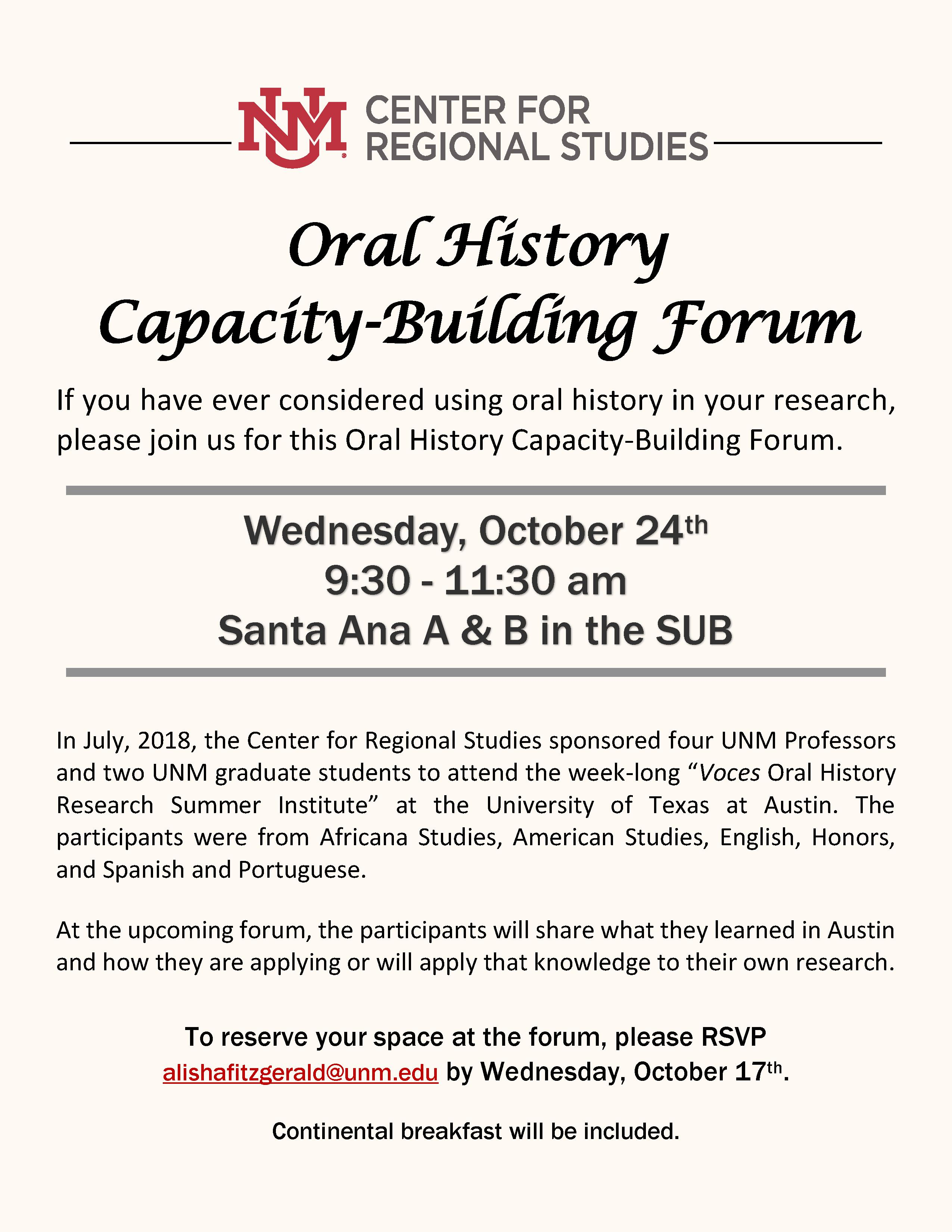 Oral History Capacity-Building Forum Flyer
